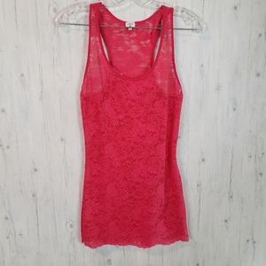 Aritzia Wilfred Lace Racerback Tank S Red Pink
